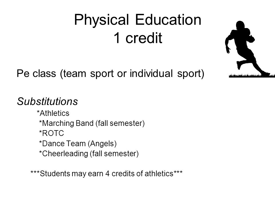 Physical Education 1 credit Pe class (team sport or individual sport) Substitutions *Athletics *Marching Band (fall semester) *ROTC *Dance Team (Angels) *Cheerleading (fall semester) ***Students may earn 4 credits of athletics***