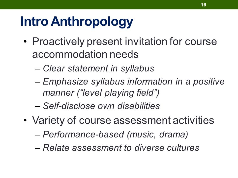 Intro Anthropology Proactively present invitation for course accommodation needs –Clear statement in syllabus –Emphasize syllabus information in a positive manner ( level playing field ) –Self-disclose own disabilities Variety of course assessment activities –Performance-based (music, drama) –Relate assessment to diverse cultures 16