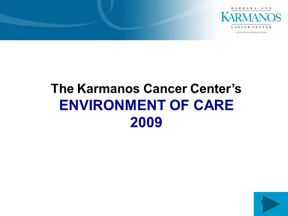 1 The Karmanos Cancer Center's ENVIRONMENT OF CARE 2009