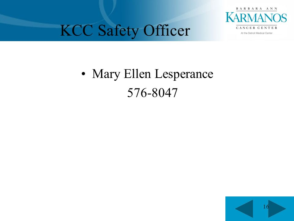 16 KCC Safety Officer Mary Ellen Lesperance