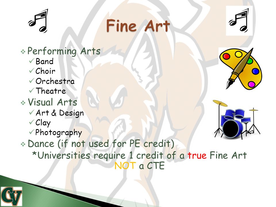  Performing Arts Band Choir Orchestra Theatre  Visual Arts Art & Design Clay Photography  Dance (if not used for PE credit) *Universities require 1 credit of a true Fine Art NOT a CTE