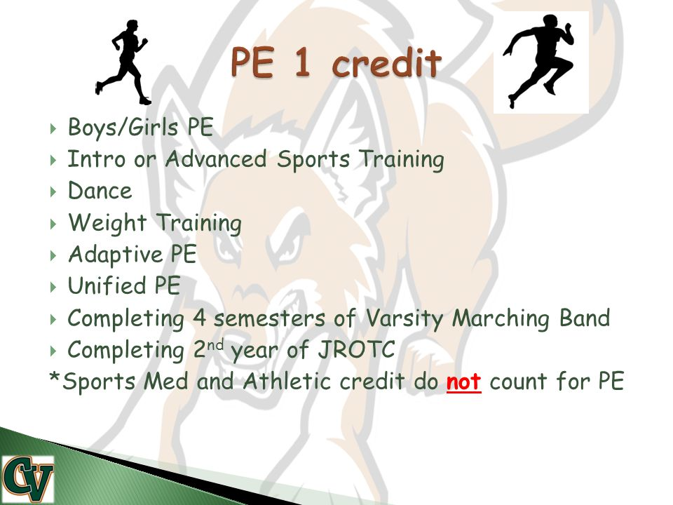  Boys/Girls PE  Intro or Advanced Sports Training  Dance  Weight Training  Adaptive PE  Unified PE  Completing 4 semesters of Varsity Marching Band  Completing 2 nd year of JROTC *Sports Med and Athletic credit do not count for PE