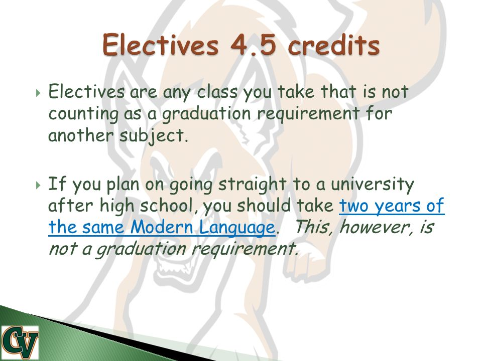  Electives are any class you take that is not counting as a graduation requirement for another subject.