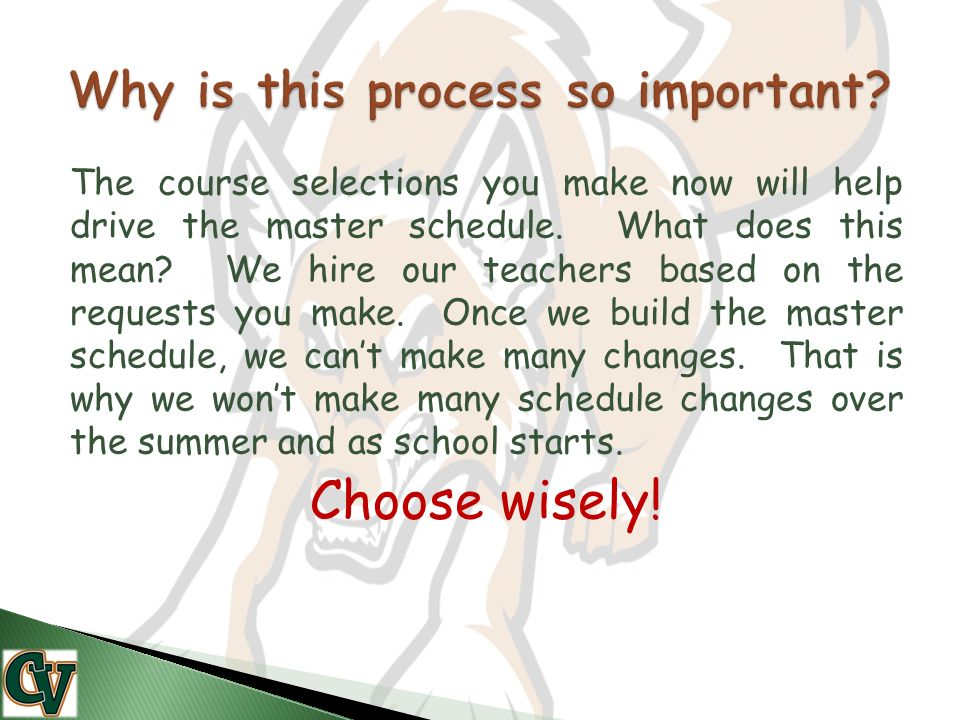 The course selections you make now will help drive the master schedule.