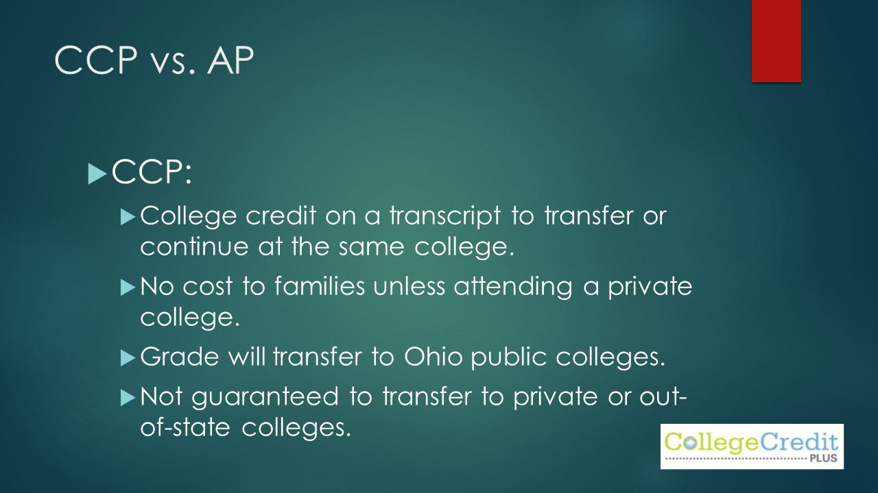 CCP vs. AP  CCP:  College credit on a transcript to transfer or continue at the same college.