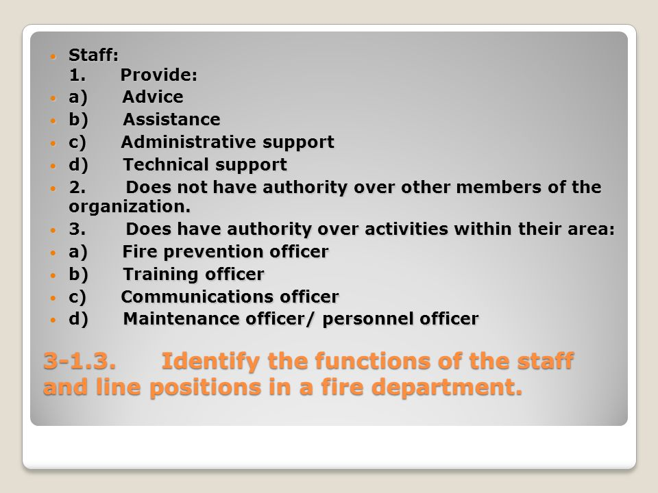 Identify the functions of the staff and line positions in a fire department.