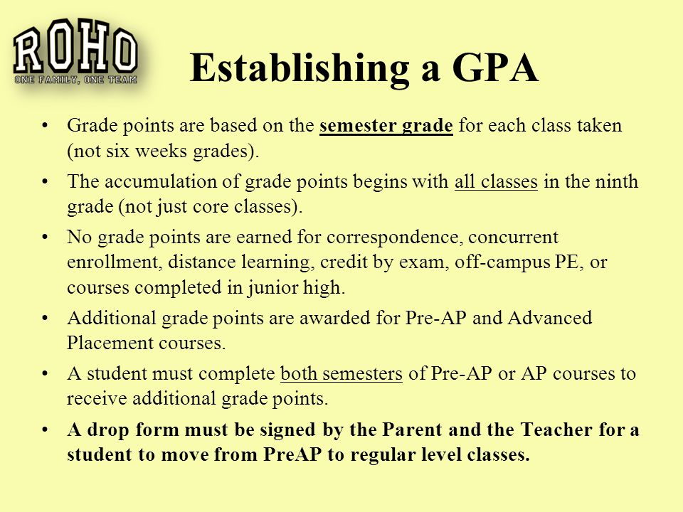 Establishing a GPA Grade points are based on the semester grade for each class taken (not six weeks grades).