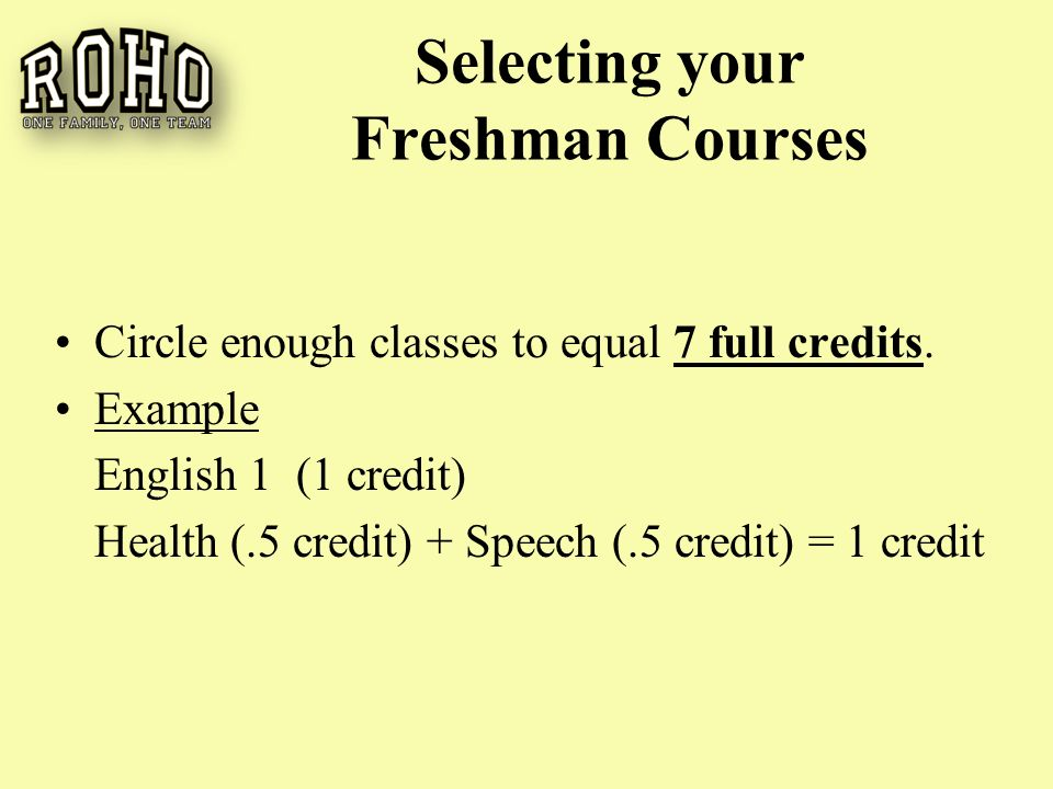 Selecting your Freshman Courses Circle enough classes to equal 7 full credits.
