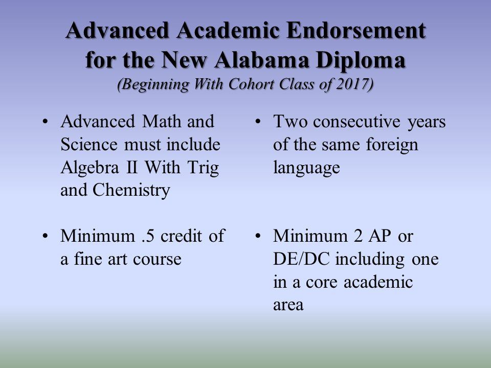 Advanced Academic Endorsement for the New Alabama Diploma (Beginning With Cohort Class of 2017) Advanced Math and Science must include Algebra II With Trig and Chemistry Two consecutive years of the same foreign language Minimum.5 credit of a fine art course Minimum 2 AP or DE/DC including one in a core academic area