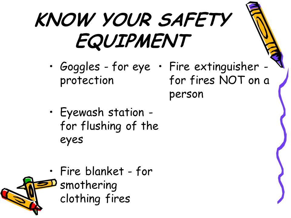 KNOW YOUR SAFETY EQUIPMENT Goggles - for eye protection Eyewash station - for flushing of the eyes Fire blanket - for smothering clothing fires Fire extinguisher - for fires NOT on a person