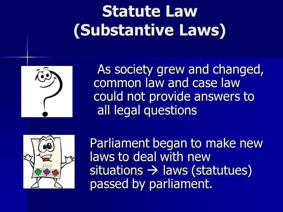 Statute Law (Substantive Laws) As society grew and changed, common law and case law could not provide answers to all legal questions As society grew and changed, common law and case law could not provide answers to all legal questions Parliament began to make new laws to deal with new situations  laws (statutues) passed by parliament.