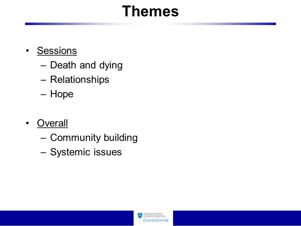 Themes Sessions –Death and dying –Relationships –Hope Overall –Community building –Systemic issues