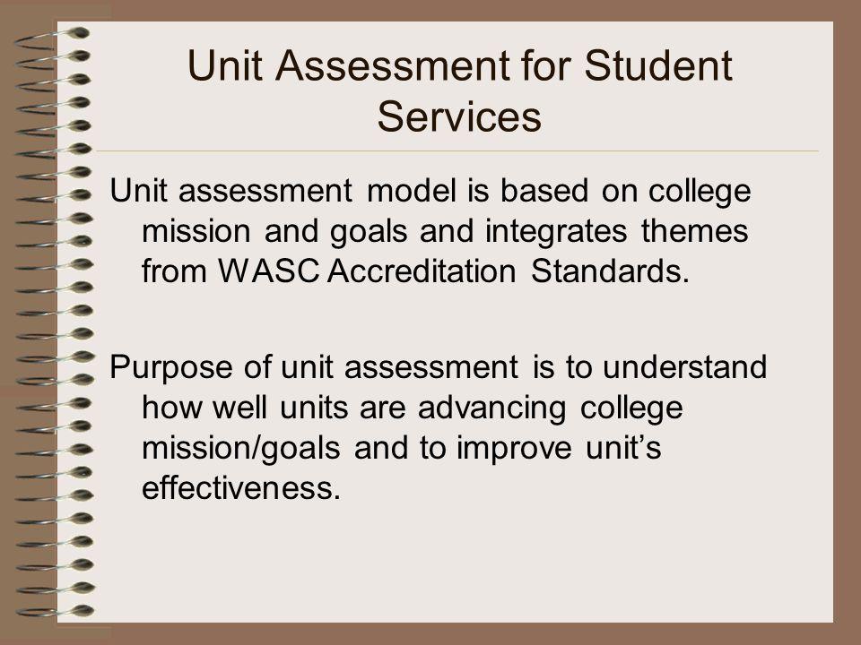 Unit Assessment for Student Services Unit assessment model