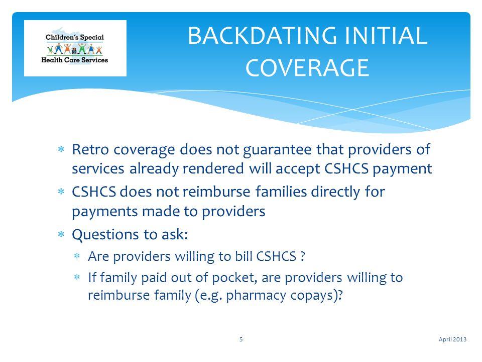 Backdating health insurance coverage