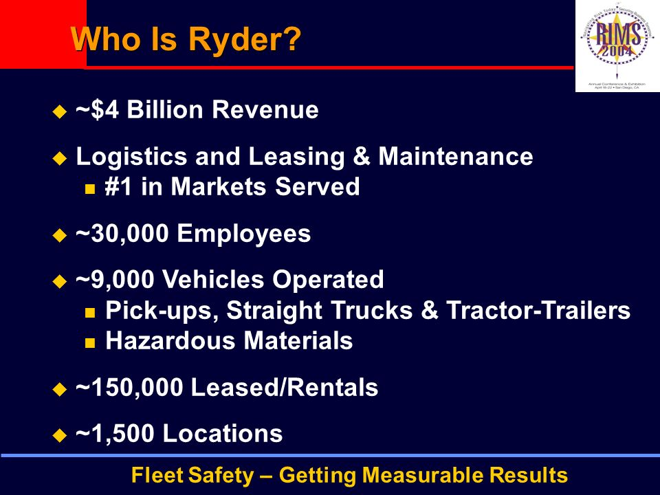 Fleet Safety – Getting Measurable Results Who Is Ryder.