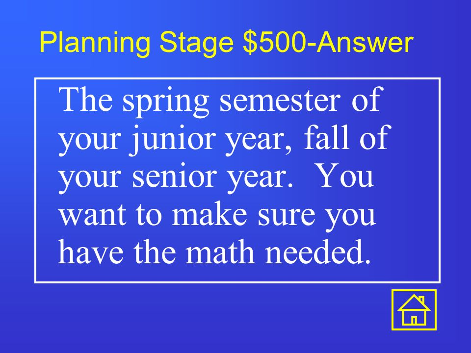 Planning Stage $400-Answer Start your junior year.
