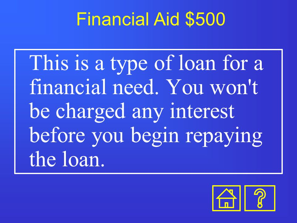 Financial Aid $400 This is a type of financial aid that must be repaid, with interest.
