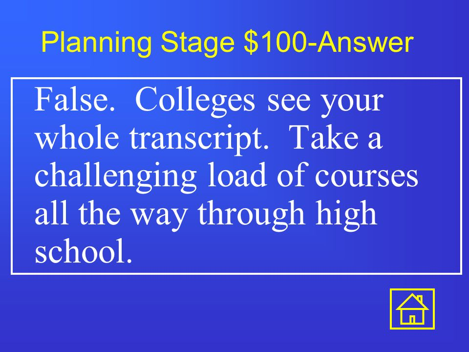 Planning Stage $500 When should I take the SAT or ACT for the first time