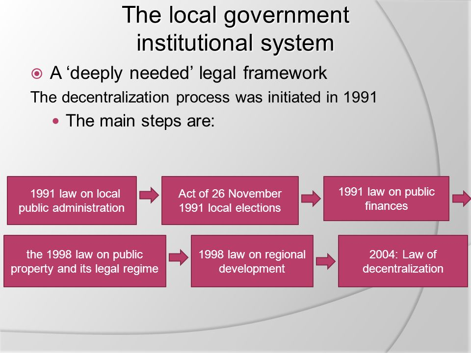 The local government institutional system  A 'deeply needed' legal framework The decentralization process was initiated in 1991 The main steps are: 1991 law on local public administration 1998 law on regional development 1991 law on public finances Act of 26 November 1991 local elections the 1998 law on public property and its legal regime 2004: Law of decentralization