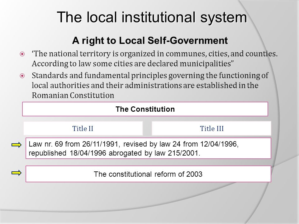 The local institutional system The local institutional system A right to Local Self-Government  'The national territory is organized in communes, cities, and counties.