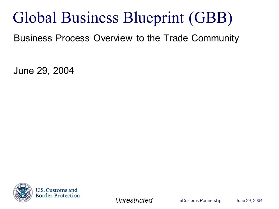 Ecustoms partnership june 29 2004 unrestricted global business 1 ecustoms partnership june 29 2004 unrestricted global business blueprint gbb business process overview to the trade community june 29 2004 malvernweather Images