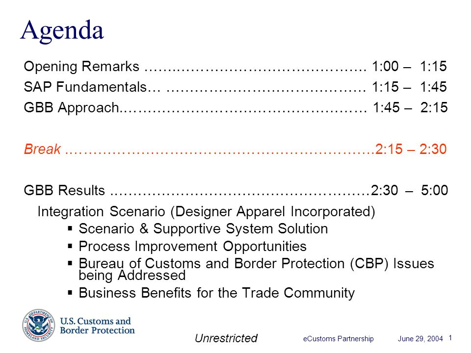 Ecustoms partnership june 29 2004 unrestricted global business ecustoms partnership june 29 2004 unrestricted 1 agenda opening remarks malvernweather Image collections