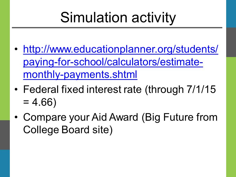 Simulation activity   paying-for-school/calculators/estimate- monthly-payments.shtmlhttp://  paying-for-school/calculators/estimate- monthly-payments.shtml Federal fixed interest rate (through 7/1/15 = 4.66) Compare your Aid Award (Big Future from College Board site)