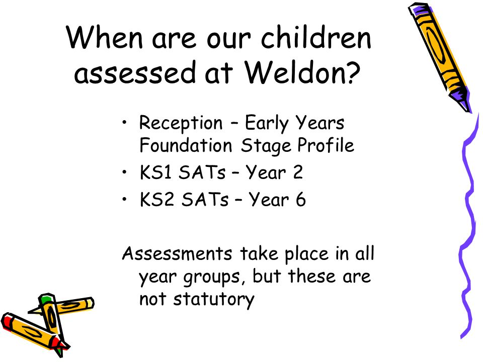 When are our children assessed at Weldon.