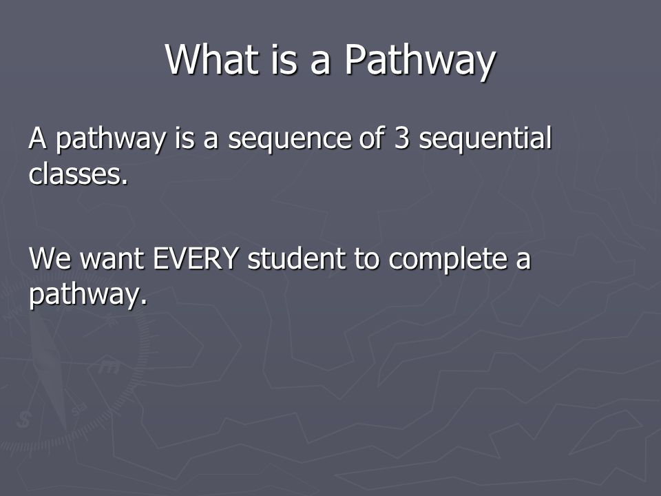 What is a Pathway A pathway is a sequence of 3 sequential classes.