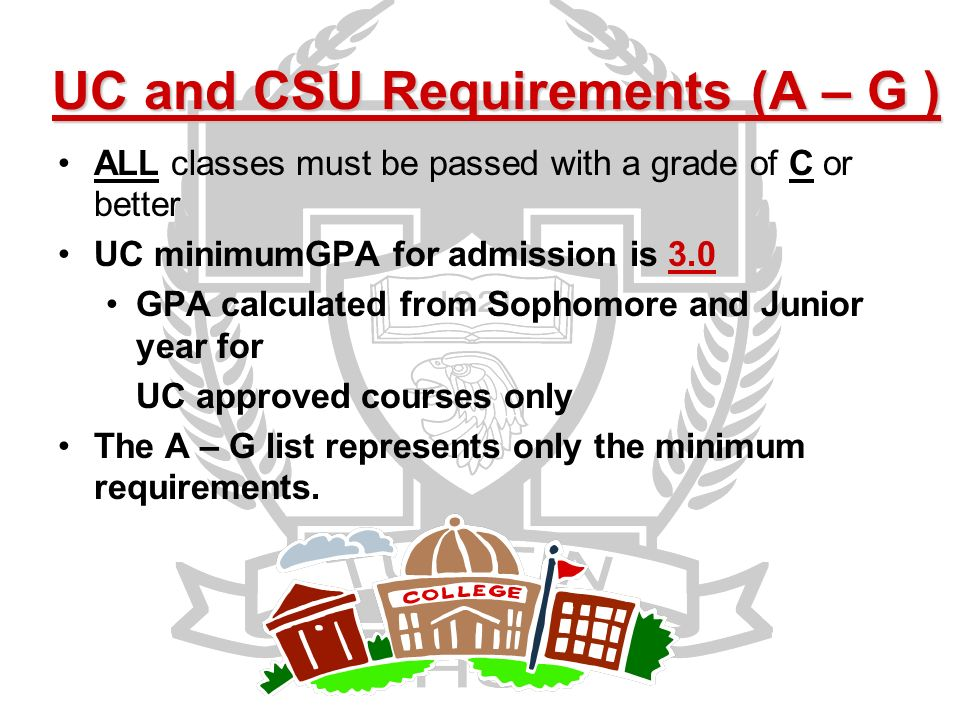 UC and CSU Requirements (A – G ) ALL classes must be passed with a grade of C or better UC minimumGPA for admission is 3.0 GPA calculated from Sophomore and Junior year for UC approved courses only The A – G list represents only the minimum requirements.