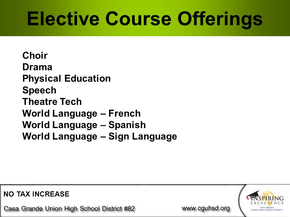 Elective Course Offerings NO TAX INCREASE Choir Drama Physical Education Speech Theatre Tech World Language – French World Language – Spanish World Language – Sign Language
