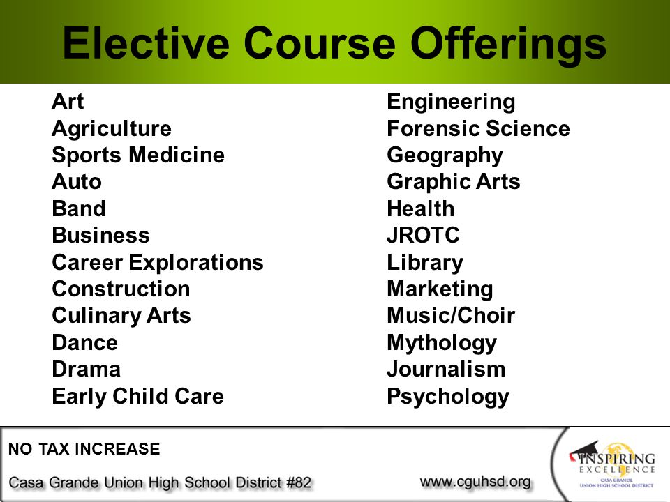 Elective Course Offerings NO TAX INCREASE ArtEngineering AgricultureForensic Science Sports MedicineGeography AutoGraphic Arts BandHealth BusinessJROTC Career ExplorationsLibrary ConstructionMarketing Culinary ArtsMusic/Choir DanceMythology DramaJournalism Early Child CarePsychology