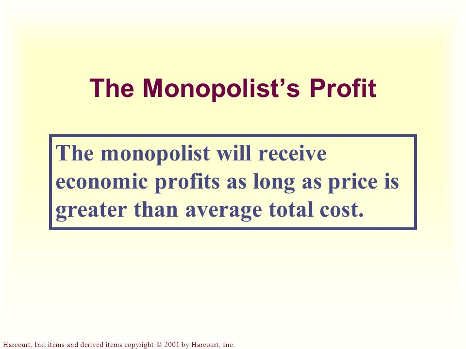 The Monopolist's Profit The monopolist will receive economic profits as long as price is greater than average total cost.