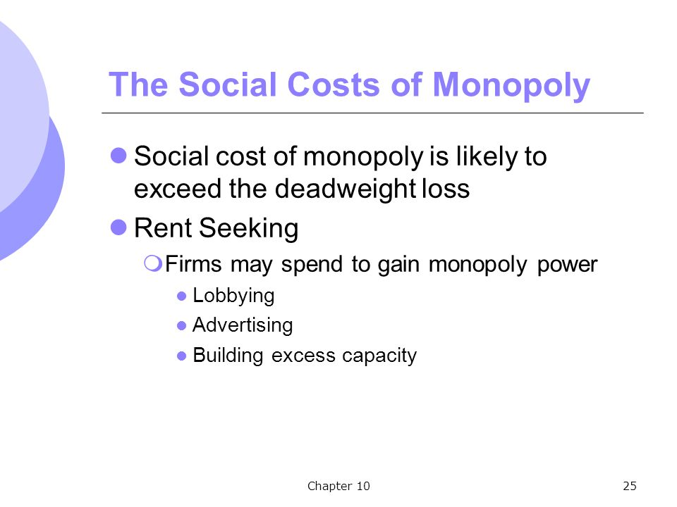 Chapter 1025 The Social Costs of Monopoly Social cost of monopoly is likely to exceed the deadweight loss Rent Seeking  Firms may spend to gain monopoly power Lobbying Advertising Building excess capacity