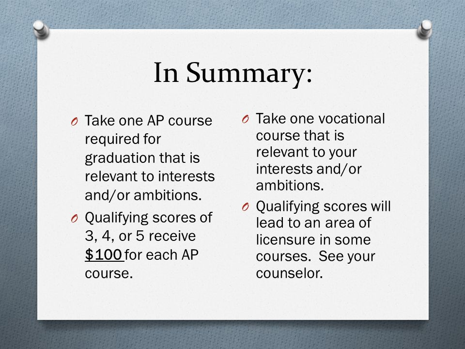 In Summary: O Take one AP course required for graduation that is relevant to interests and/or ambitions.