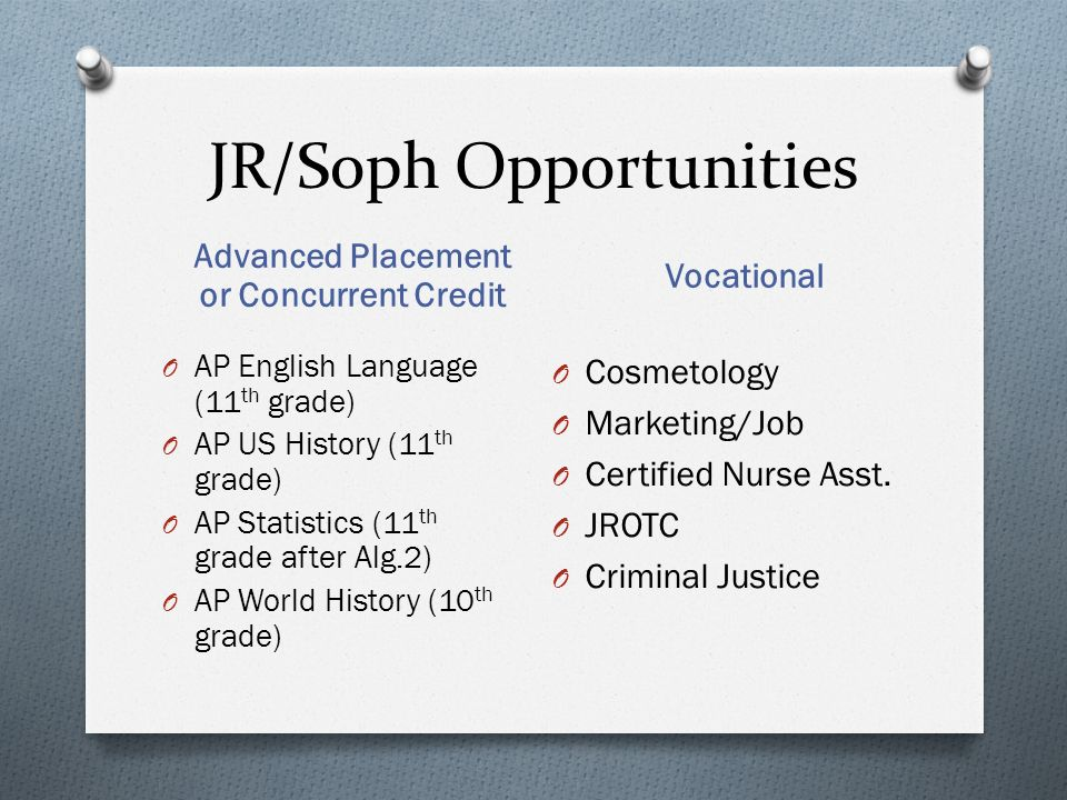 JR/Soph Opportunities Advanced Placement or Concurrent Credit Vocational O AP English Language (11 th grade) O AP US History (11 th grade) O AP Statistics (11 th grade after Alg.2) O AP World History (10 th grade) O Cosmetology O Marketing/Job O Certified Nurse Asst.
