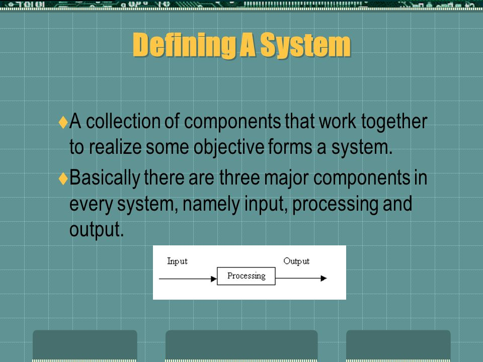 Defining A System  A collection of components that work together to realize some objective forms a system.