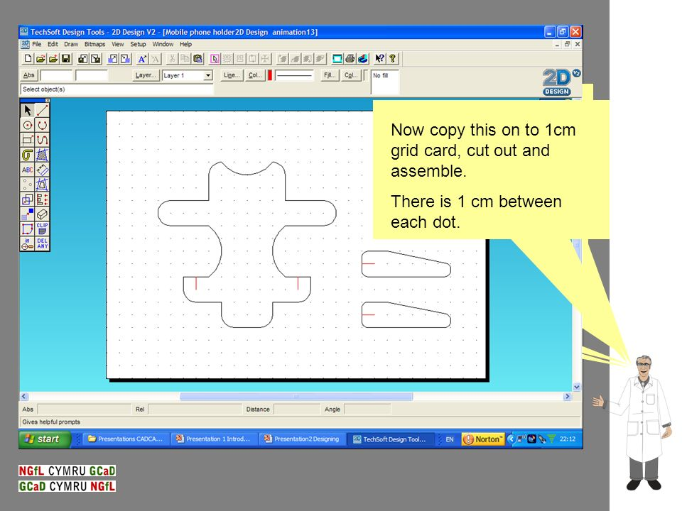 Transferring the design to CAD – 2D Design Cutting out the design