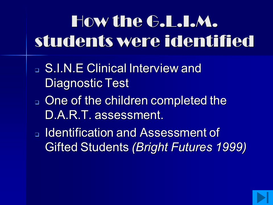 Program Outline  How the students were identified How the students were identified How the students were identified  Mathematics area of the C.S.F.