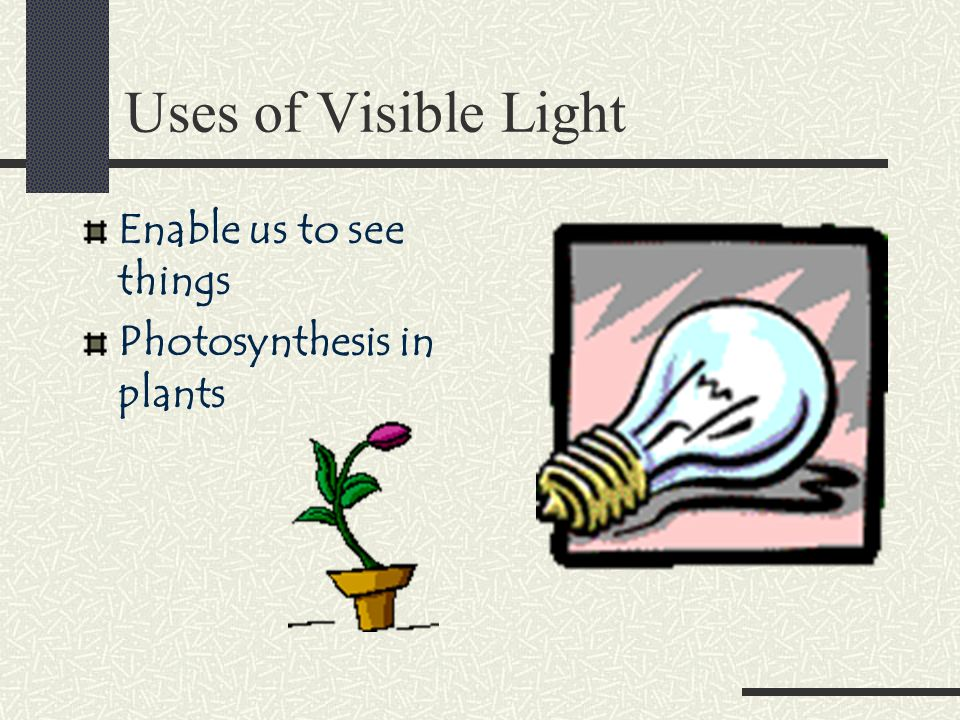 Uses of Visible Light Enable us to see things Photosynthesis in plants
