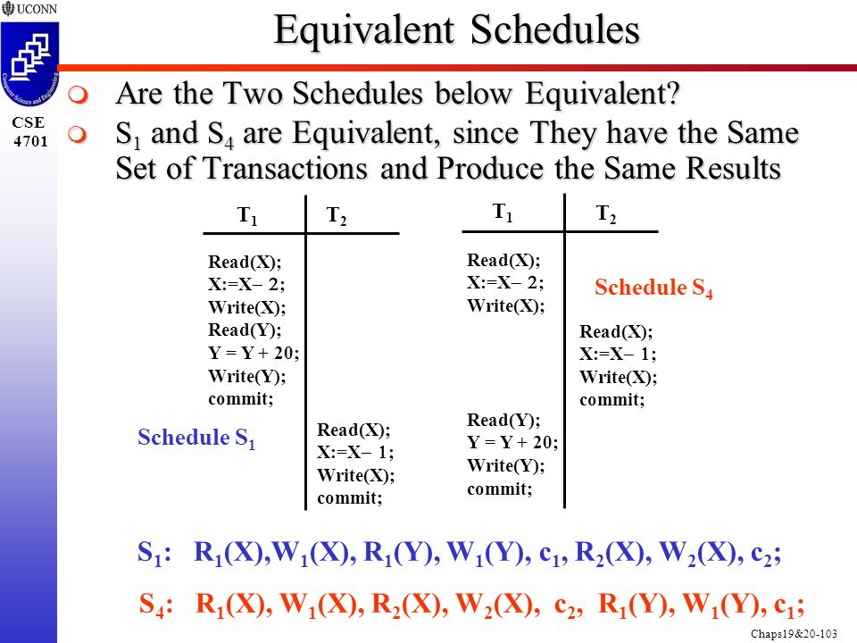 Chaps19&20-103 CSE 4701 Equivalent Schedules  Are the Two Schedules below Equivalent.