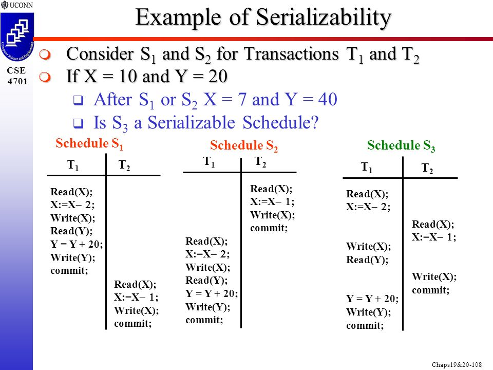 Chaps19&20-108 CSE 4701 Example of Serializability  Consider S 1 and S 2 for Transactions T 1 and T 2  If X = 10 and Y = 20  After S 1 or S 2 X = 7 and Y = 40  Is S 3 a Serializable Schedule.