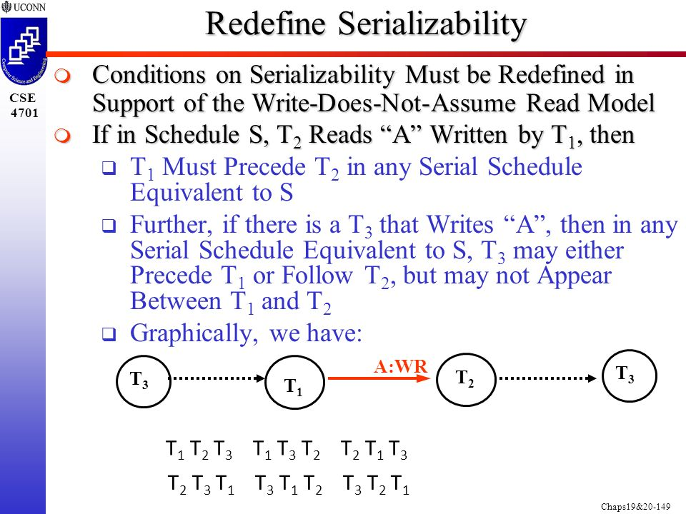 Chaps19&20-149 CSE 4701 Redefine Serializability  Conditions on Serializability Must be Redefined in Support of the Write-Does-Not-Assume Read Model  If in Schedule S, T 2 Reads A Written by T 1, then  T 1 Must Precede T 2 in any Serial Schedule Equivalent to S  Further, if there is a T 3 that Writes A , then in any Serial Schedule Equivalent to S, T 3 may either Precede T 1 or Follow T 2, but may not Appear Between T 1 and T 2  Graphically, we have: T3T3 A:WR T1T1 T2T2 T3T3 T 1 T 2 T 3 T 1 T 3 T 2 T 2 T 1 T 3 T 2 T 3 T 1 T 3 T 1 T 2 T 3 T 2 T 1