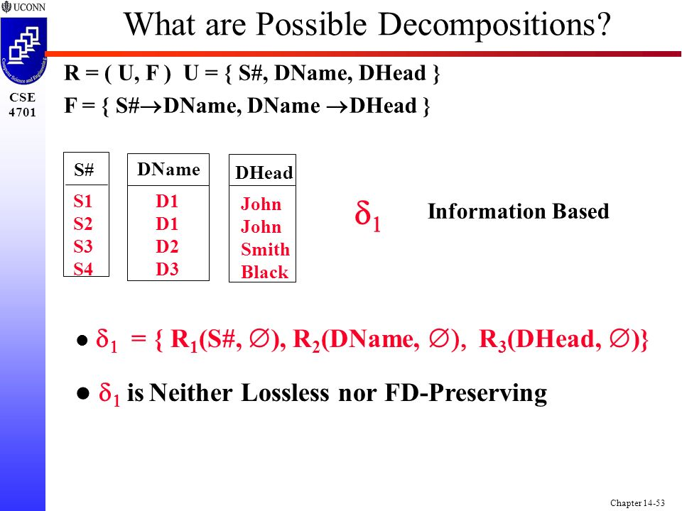 CSE 4701 Chapter 14-53 What are Possible Decompositions.