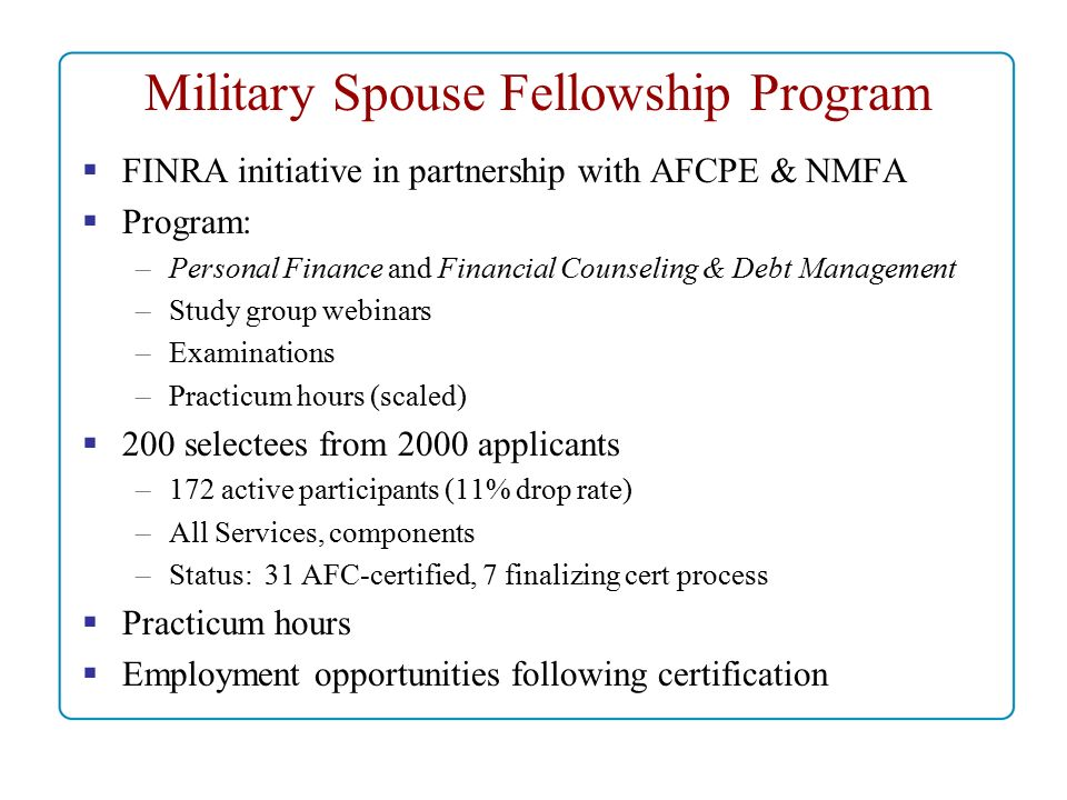 Association for Financial Counseling Planning Education Military Pre ...