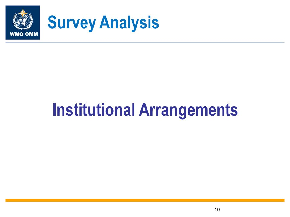 WMO OMM 10 Institutional Arrangements Survey Analysis