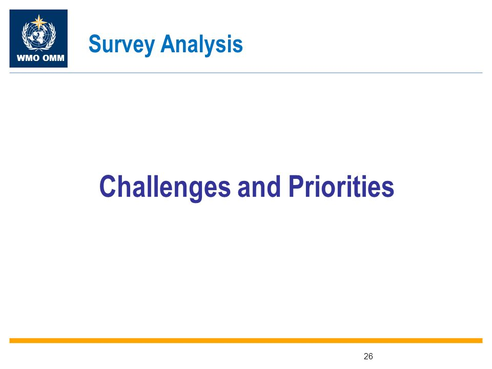 WMO OMM 26 Challenges and Priorities Survey Analysis