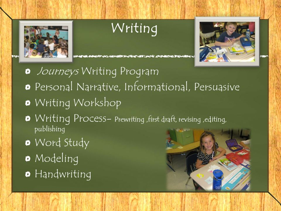 Writing Journeys Writing Program Personal Narrative, Informational, Persuasive Writing Workshop Writing Process- Prewriting,first draft, revising,editing, publishing Word Study Modeling Handwriting