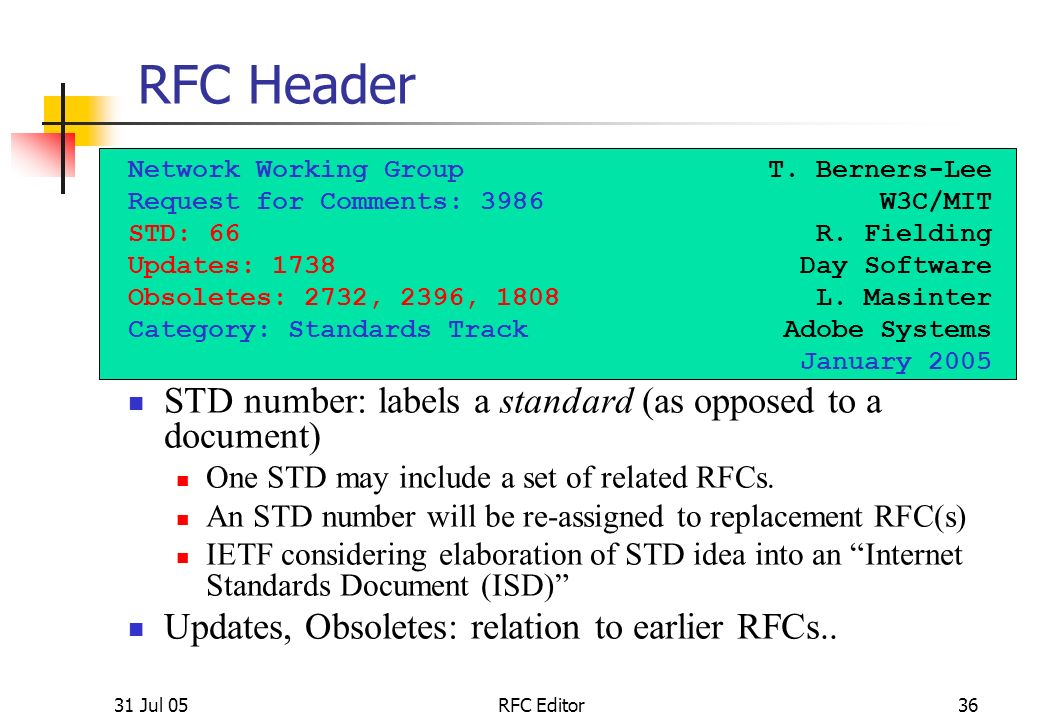 "31 Jul 051 RFC Editor Tutorial -- ""How to Write an RFC"" IETF-63 ..."