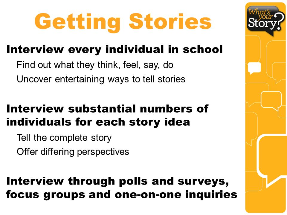 Getting Stories Interview every individual in school Find out what they think, feel, say, do Uncover entertaining ways to tell stories Interview substantial numbers of individuals for each story idea Tell the complete story Offer differing perspectives Interview through polls and surveys, focus groups and one-on-one inquiries